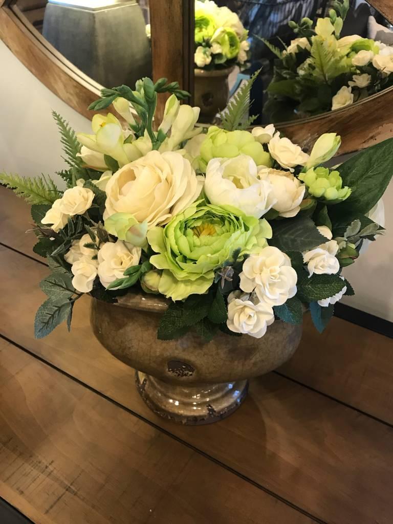 Ranunculus and Teacup Roses in Brown Ceramic Urn