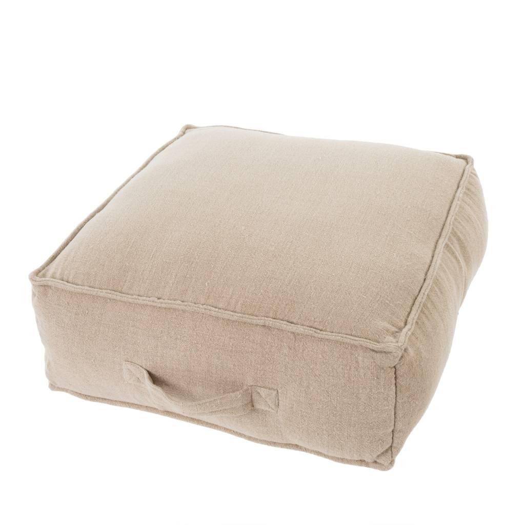 Linen Floor Cushion L, Khaki