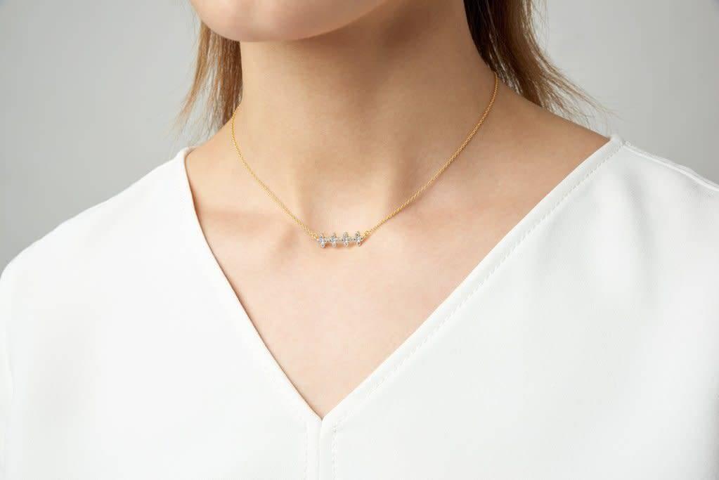 Freida Rothman Clover Bar Pendant Necklace Silver/Gold