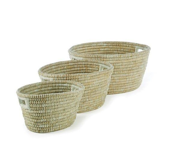 Rivergrass Oval Basket with Handles