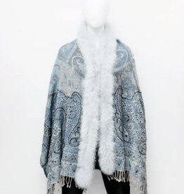 Fox Fur Embroidered Wrap Light Blue