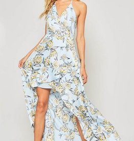 Halter Maxi Hi Lo Dress Sky Blue