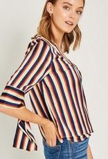 Stripe Drape Sleeve Wrap Top Navy Multi