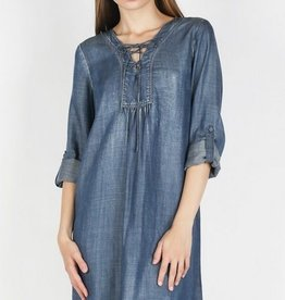 Tencel Washed Denim Lace Up Dress Lt Blue