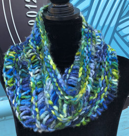 Sample - Blue & Green Chunky Knit Cowl