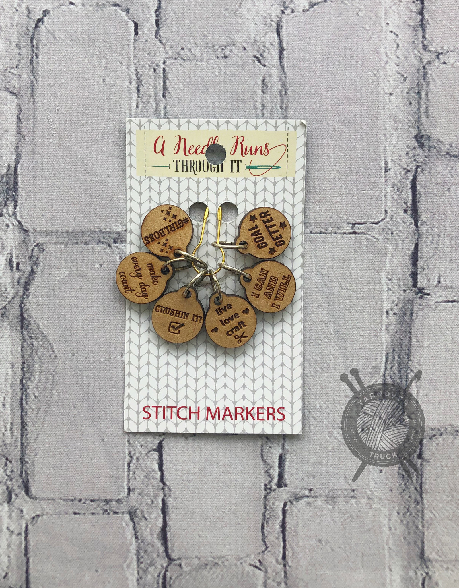 A Needle Runs Through It Inspirational Themed Stitch Marker Set for Knitting