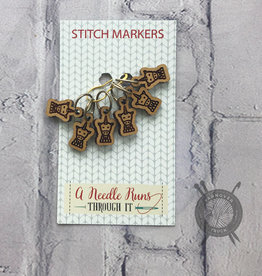 A Needle Runs Through It Unicorn Stitch Marker Set for Knitting