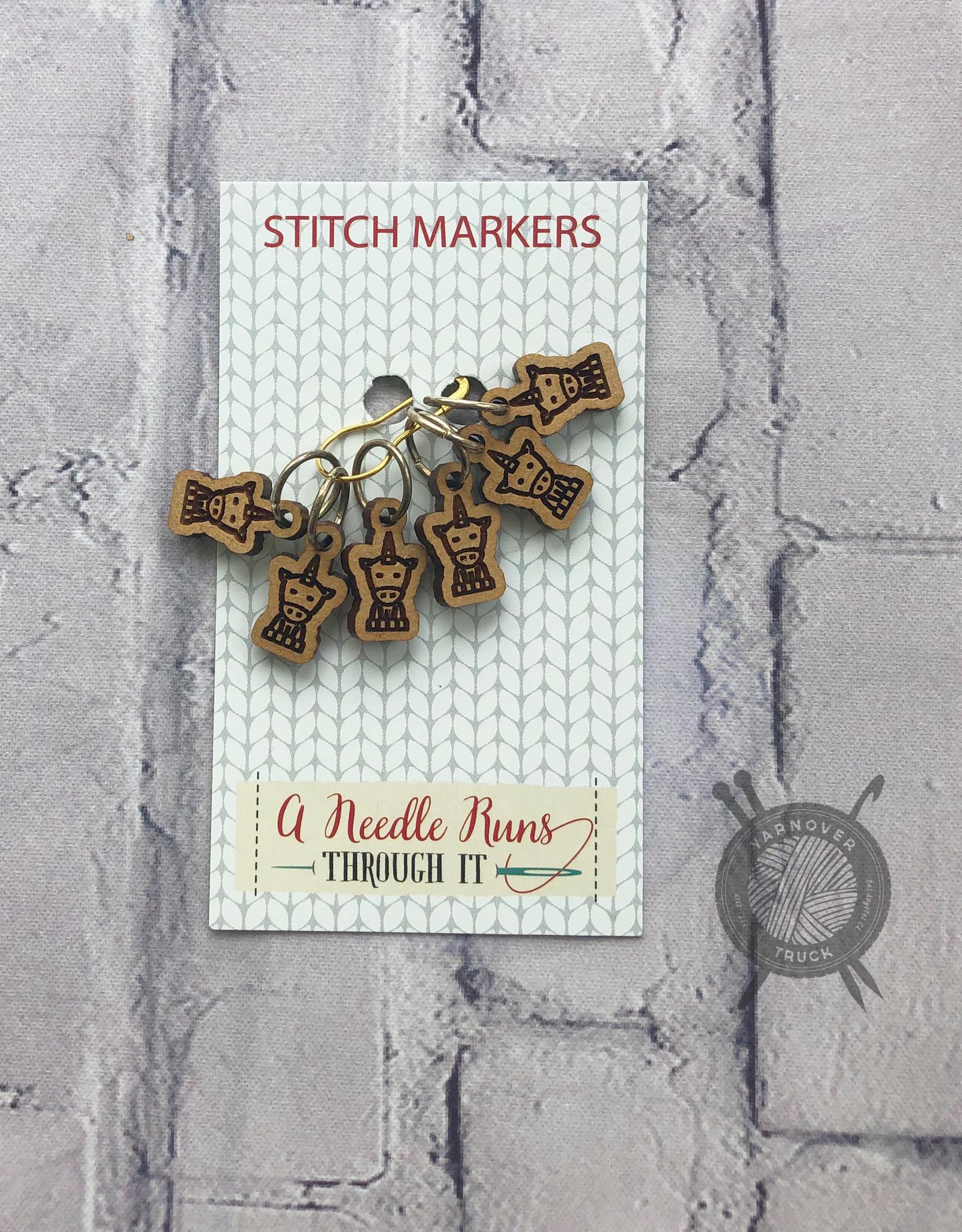 A Needle Runs Through It Unicorn Stitch Marker Set for Knitting