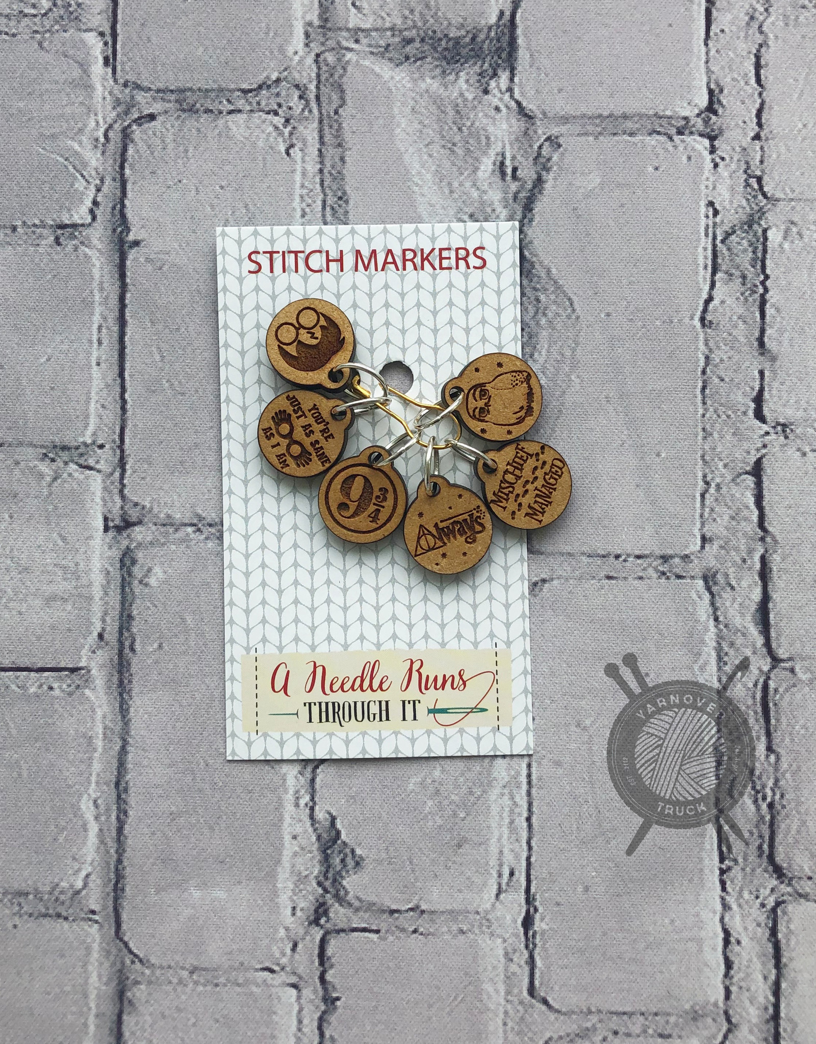 A Needle Runs Through It Harry Potter inspired Stitch Marker Set for Knitting