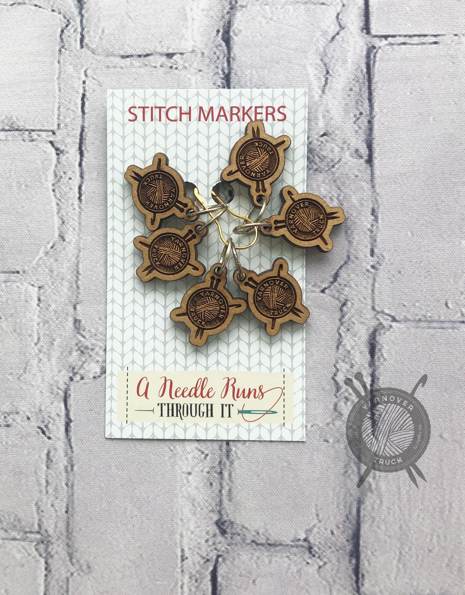 A Needle Runs Through It Yarnover Truck Logo Marker Set for Knitting
