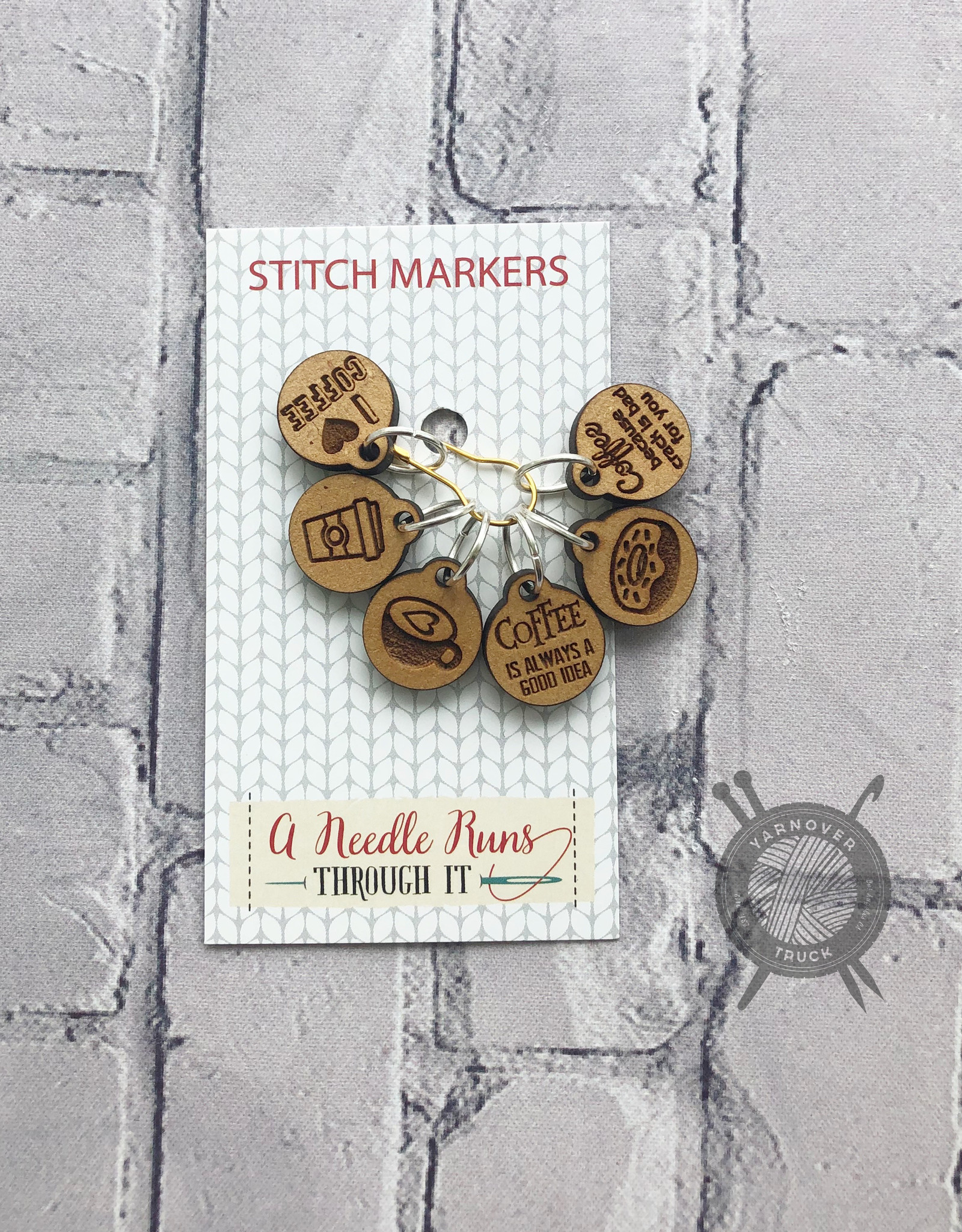 A Needle Runs Through It I Love Coffee Stitch Marker Set for Knitting