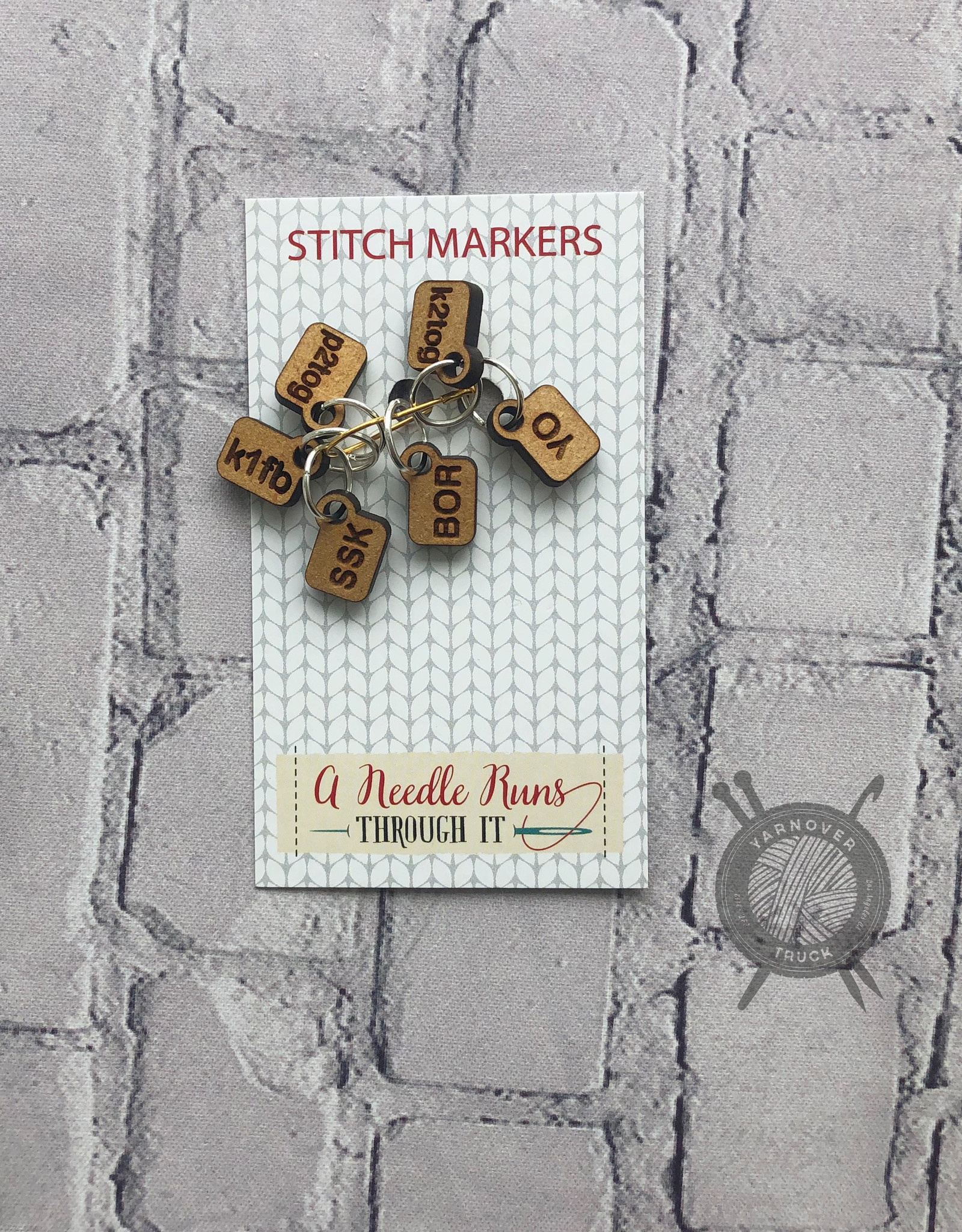 A Needle Runs Through It Helpful Stitch Marker set for Knitting