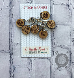 A Needle Runs Through It Love Coffee Stitch Marker Set for Crochet