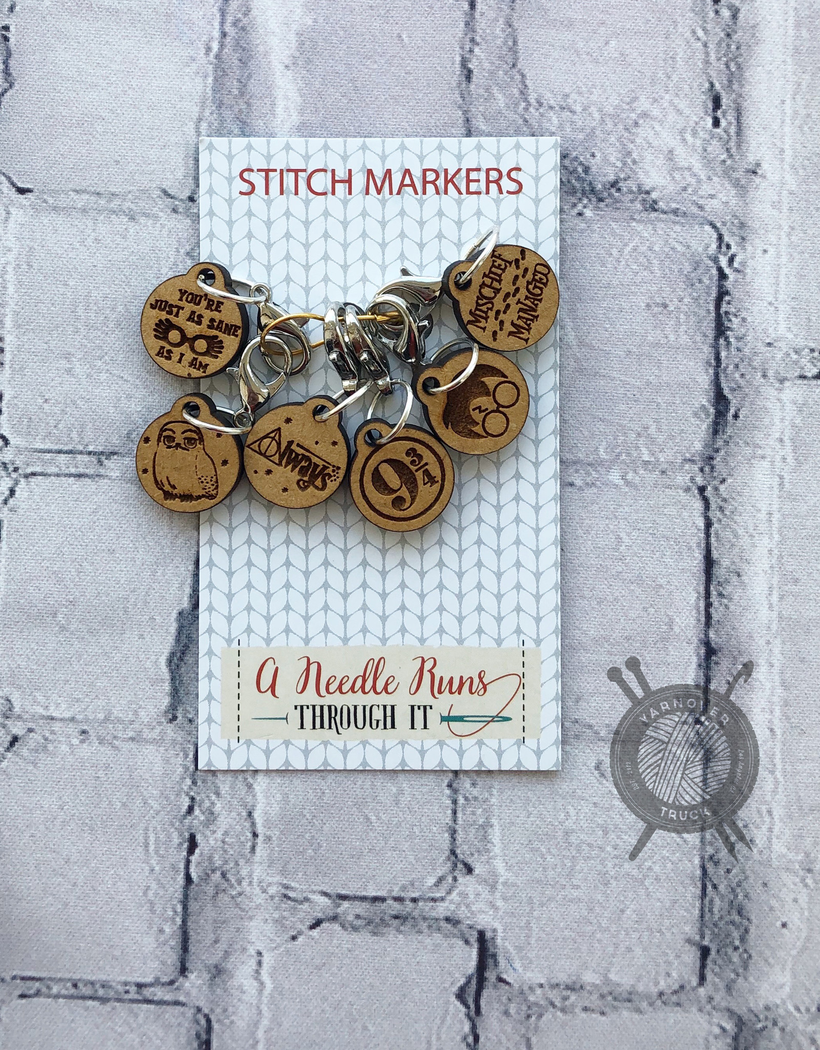 A Needle Runs Through It Harry Potter inspired Stitch Marker Set for Crochet