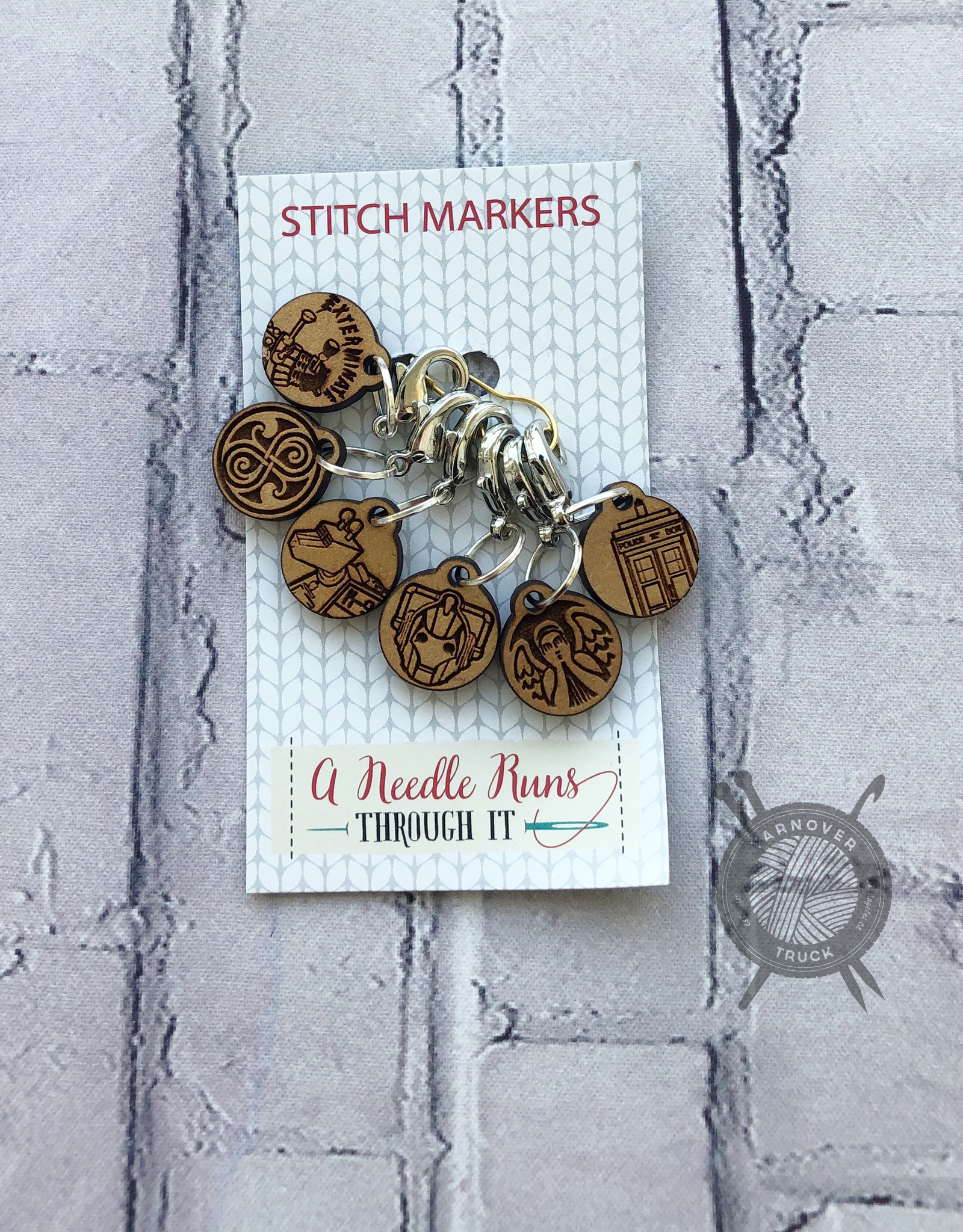 A Needle Runs Through It Dr. Who Themed Stitch Marker Set for Crochet