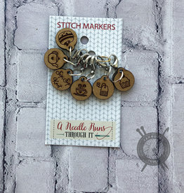 A Needle Runs Through It Tea Time Stitch Marker Set for Crochet