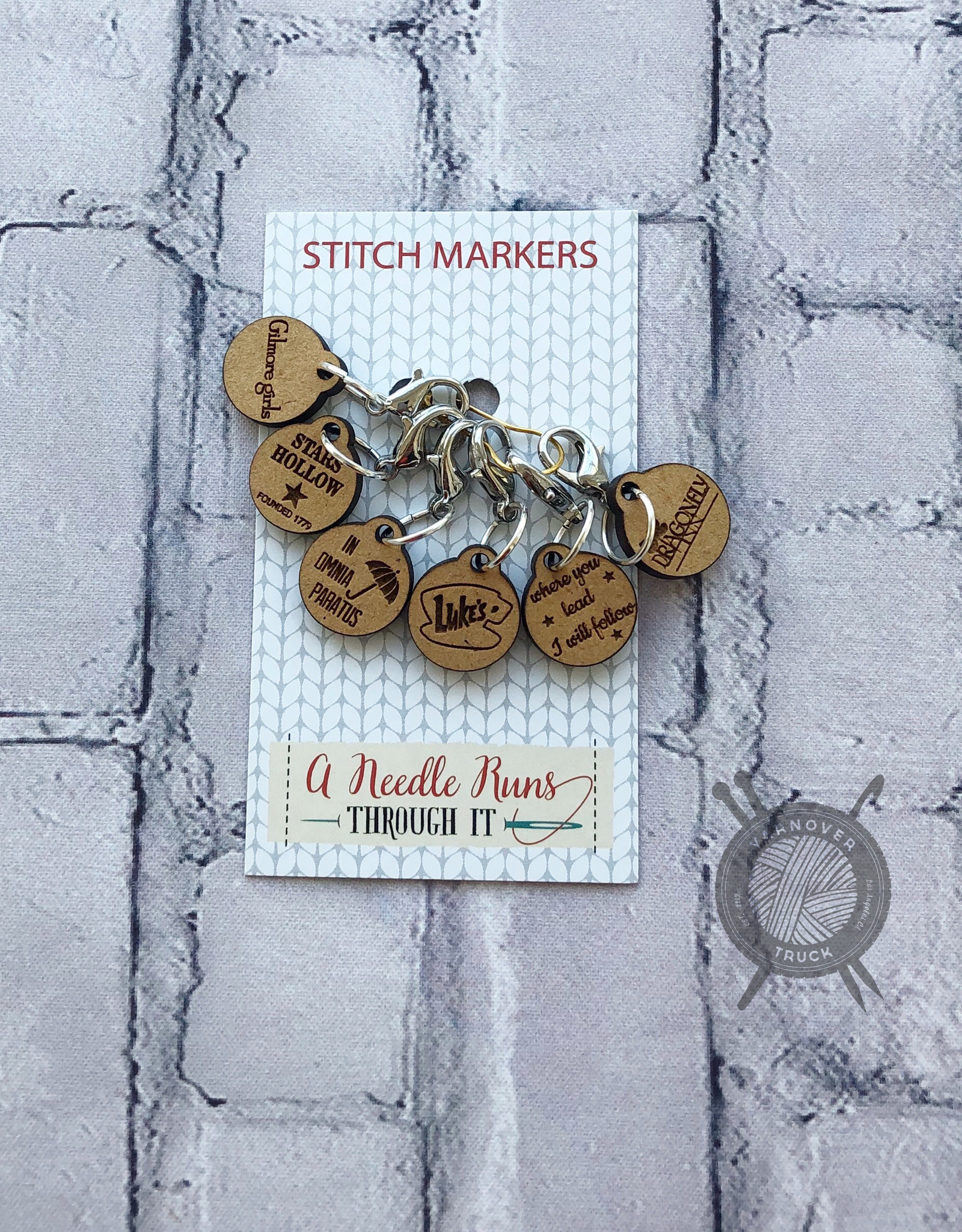 A Needle Runs Through It Gilmore Girls inspired Stitch Marker Set for Crochet