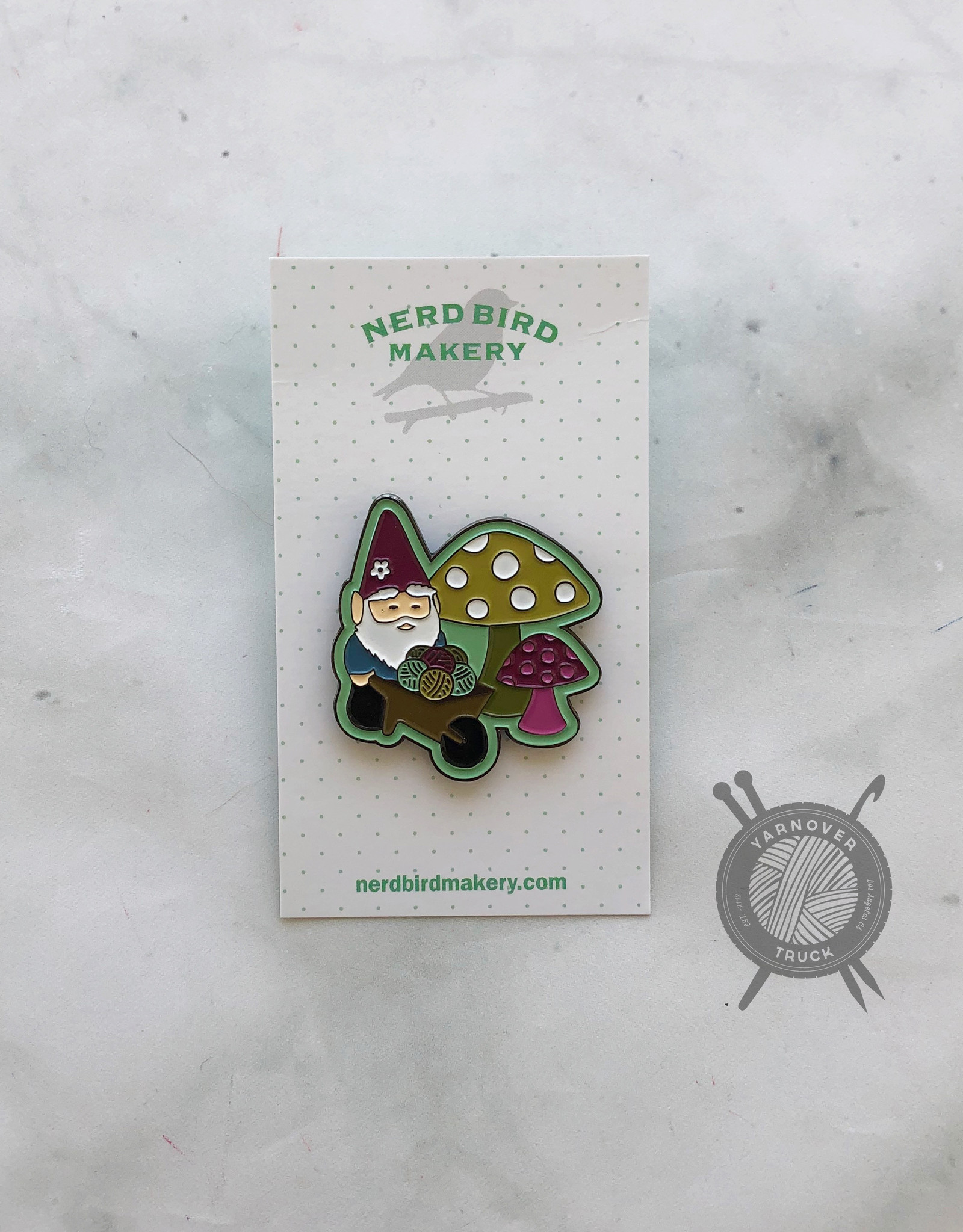 Gnome Sweet Home Ename Pin from Nerd Bird Makery