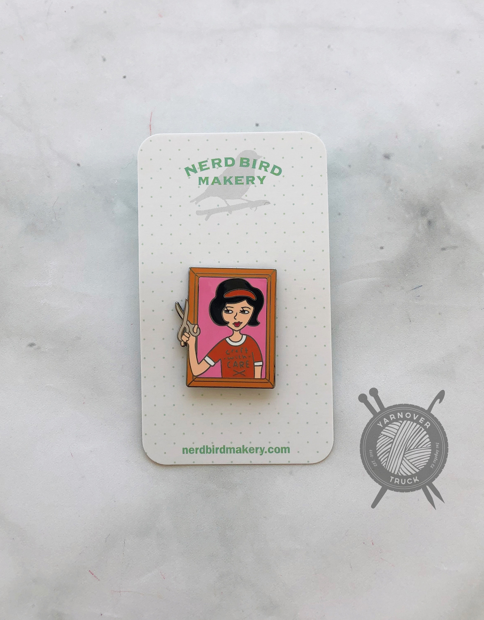 Craft with Care Enamel Pin from Nerd Bird Makery