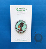 Nevertheless She Knitted Enamel Pin from Nerd Bird Makery