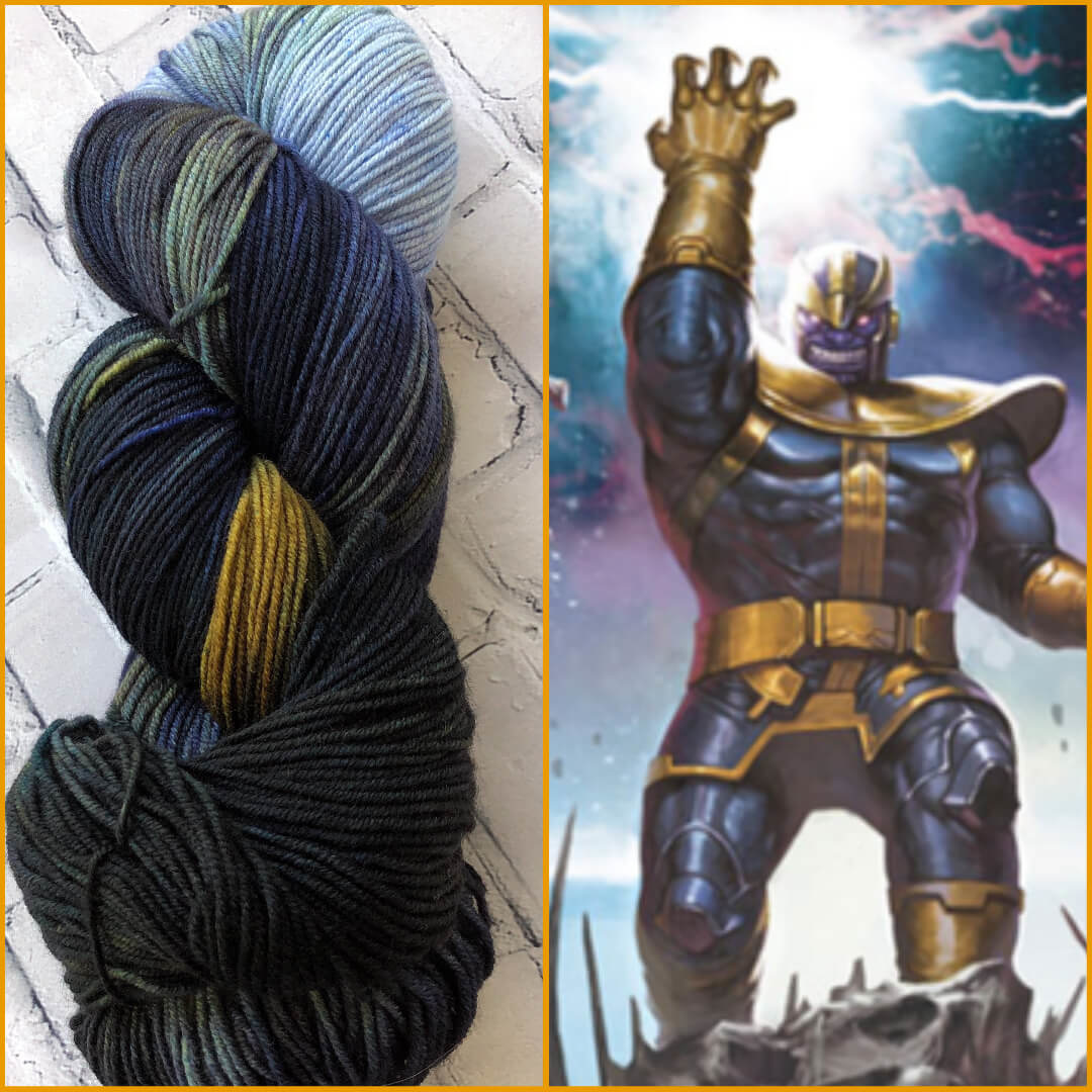Forbidden Fiber Co. Thanos on Gluttony Sock from Forbidden Fiber Co.