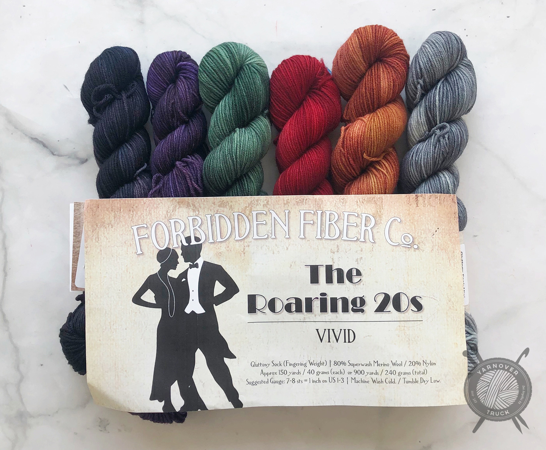 Forbidden Fiber Co. Roaring 20's Vivid Mini Set Collection on Gluttony Sock from Forbidden Fiber Co.