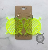 Children of the Rice Transparent Neon Yellow Yarn Ball Large Earrings from Children of the Rice