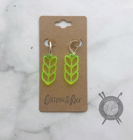 Children of the Rice Transparent Neon Yellow Pretty Knitting Small Earring from Children of the Rice