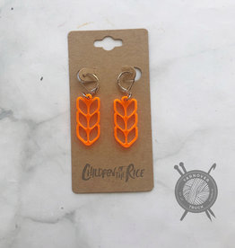 Children of the Rice Transparent Neon Orange Pretty Knitting Small Earring from Children of the Rice