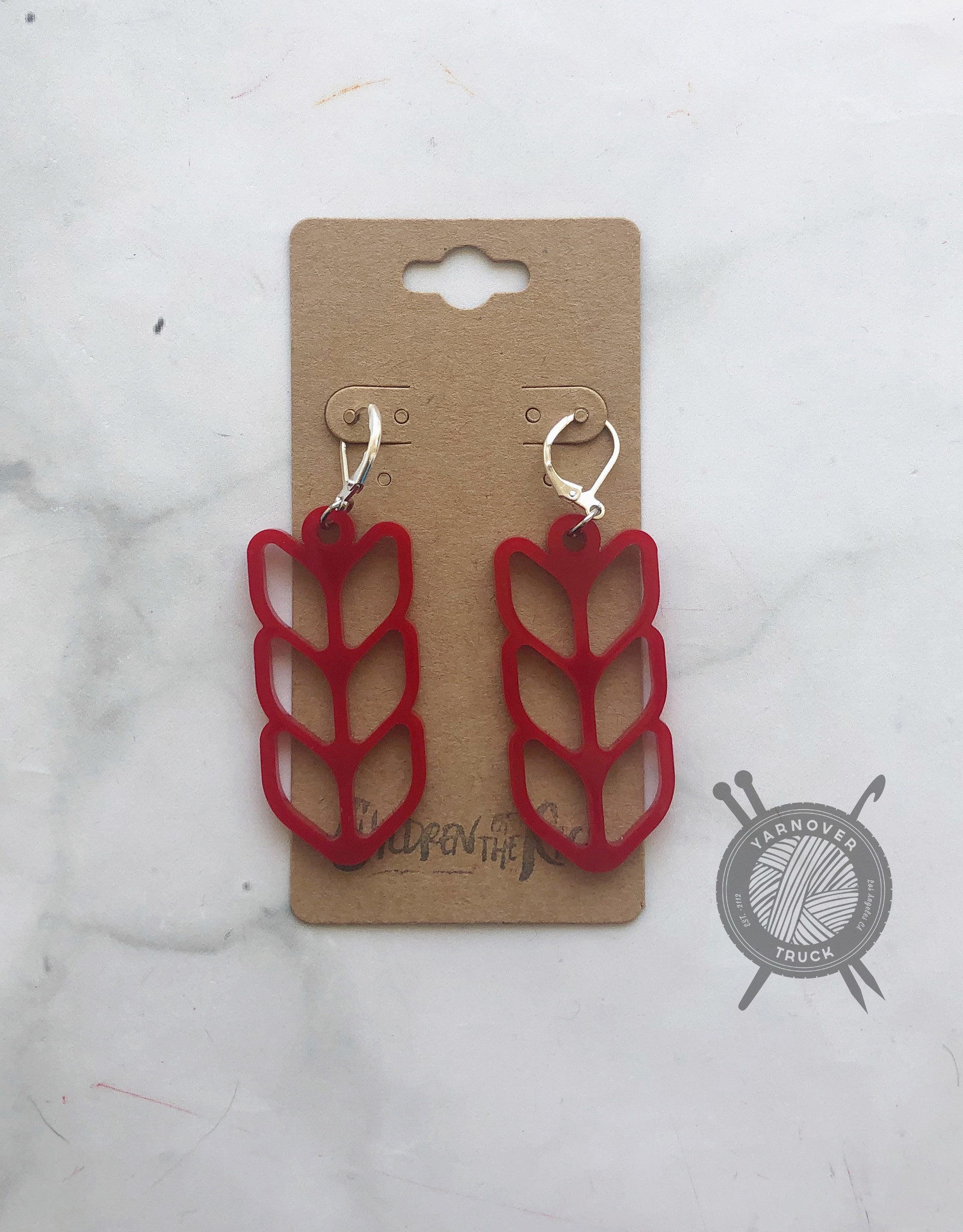 Children of the Rice Red Pretty Knitting Large Earring from Children of the Rice