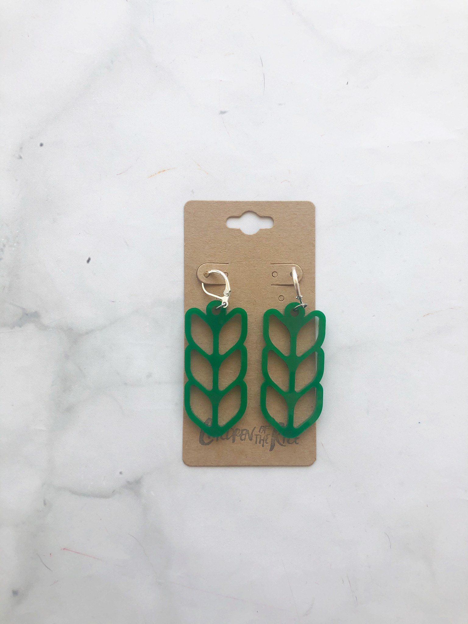 Children of the Rice Green Pretty Knitting Large Earring from Children of the Rice