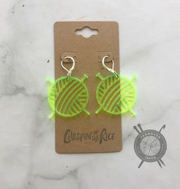 Children of the Rice Transparent Neon Yellow Yarn Ball Small Earring Set from Children of the Rice