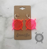 Children of the Rice Transparent Neon Pink Yarn Ball Small Earring Set from Children of the Rice