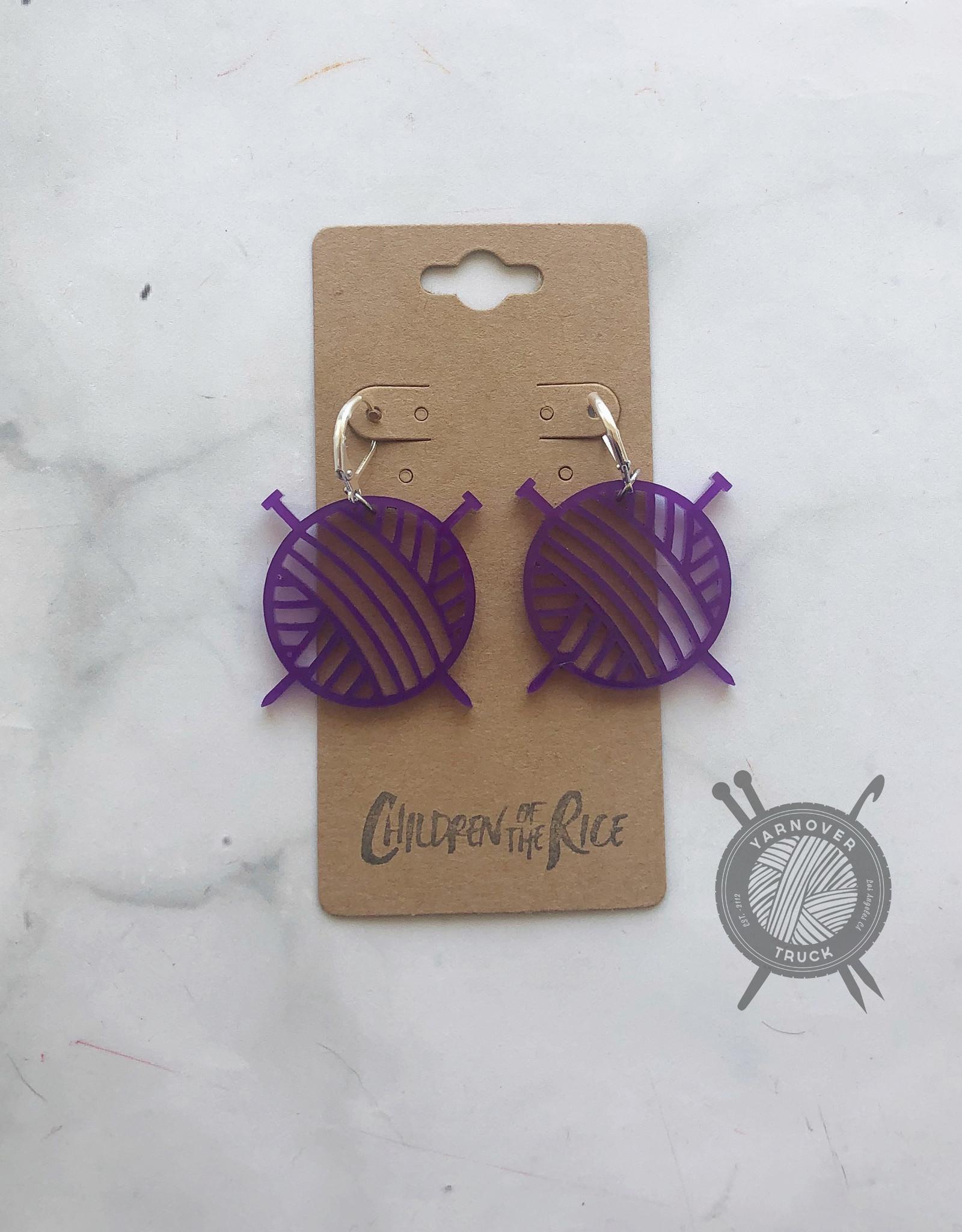 Children of the Rice Purple Yarn Ball Small Earring from Children of the Rice