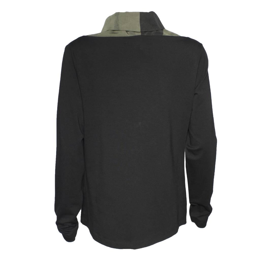 Crea Concept Crea Concept Silk Print Knit Top - Green/Blk