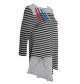 Redwood Court Redwood Court Paint Stroke Stripe 3/4 Sleeve - Black/Grey