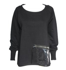 NY77 Design NY77 Design Clear Pocket Long Sleeve Top - Black