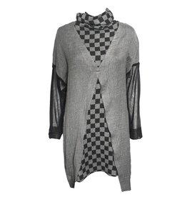 Gershon Bram Gershon Bram Arabella Mesh Sleeve Cowl Neck Top - Grey/Black