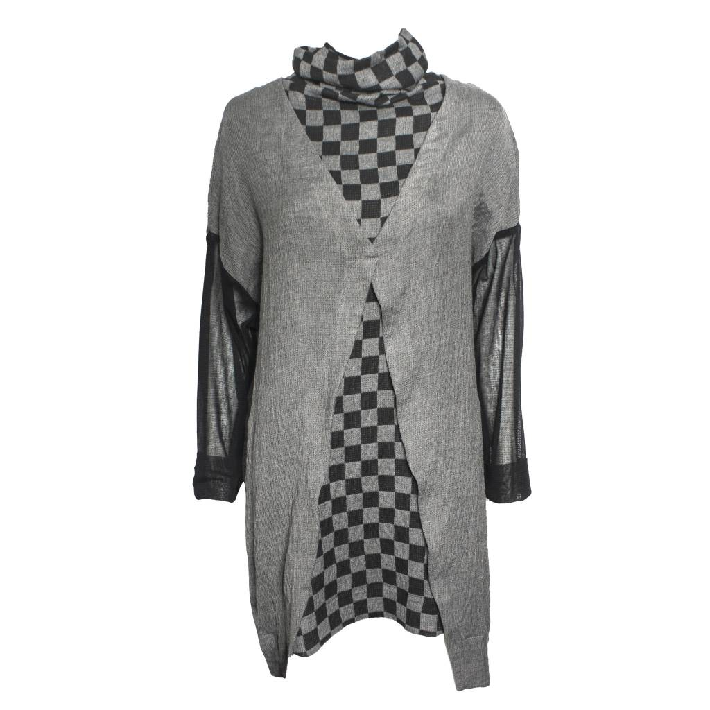 Gershon Bram Gershon Bram Arabella Mesh Sleeve Cowl Neck Top - Grey/Black