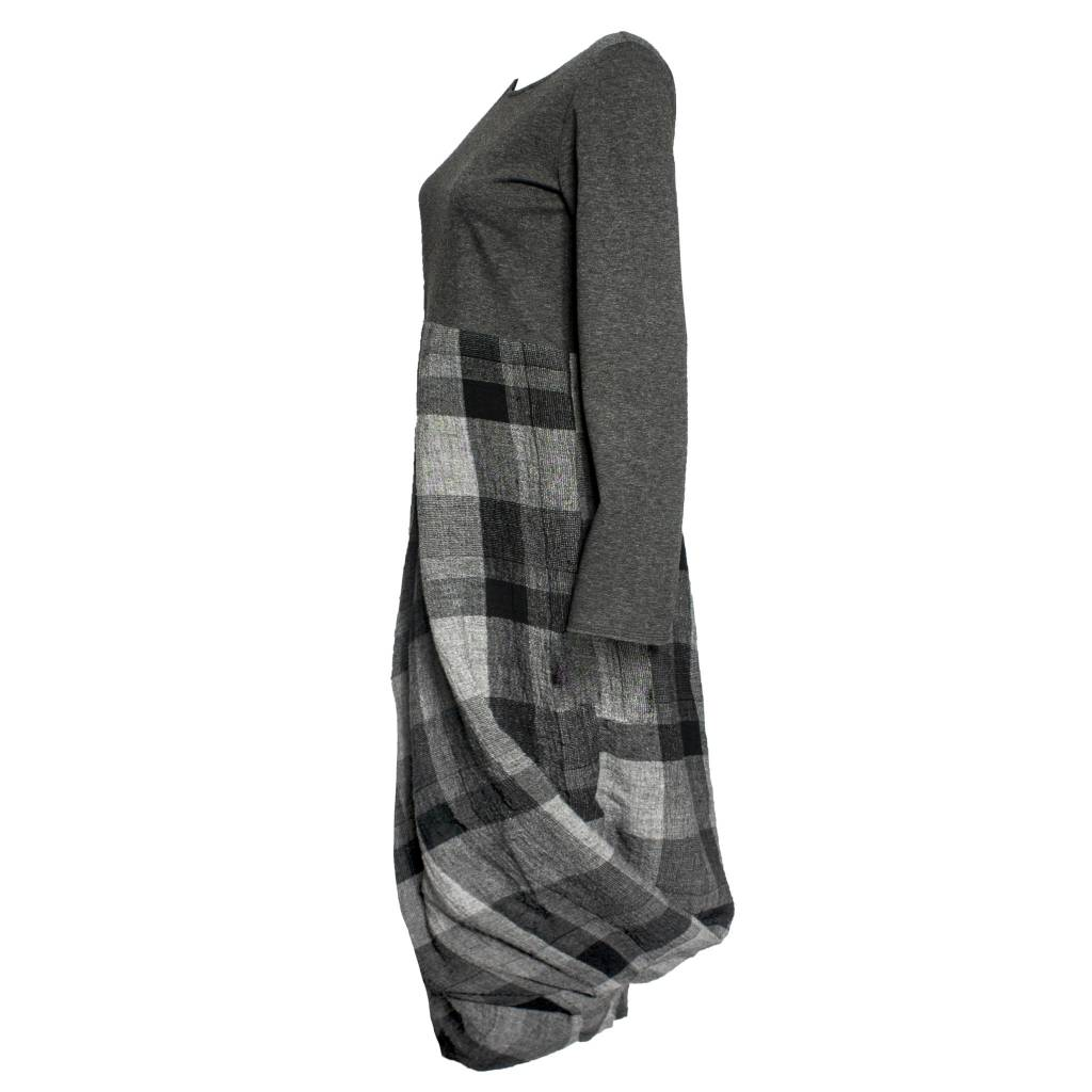 Kedziorek Kedziorek Long Sleeve Plaid Dress - Grey