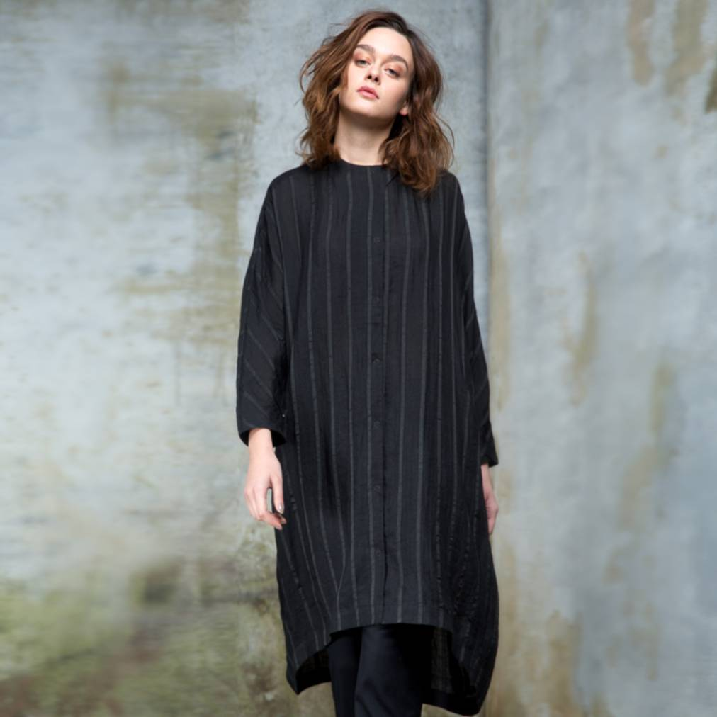 Colour 5 Power Colour 5 Power Woven Stripe Long Sleeve Shirt - Black