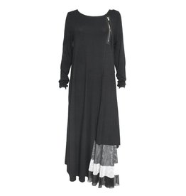 NY77 Design NY77 Long Sleeve Corner Zip Dress - Black