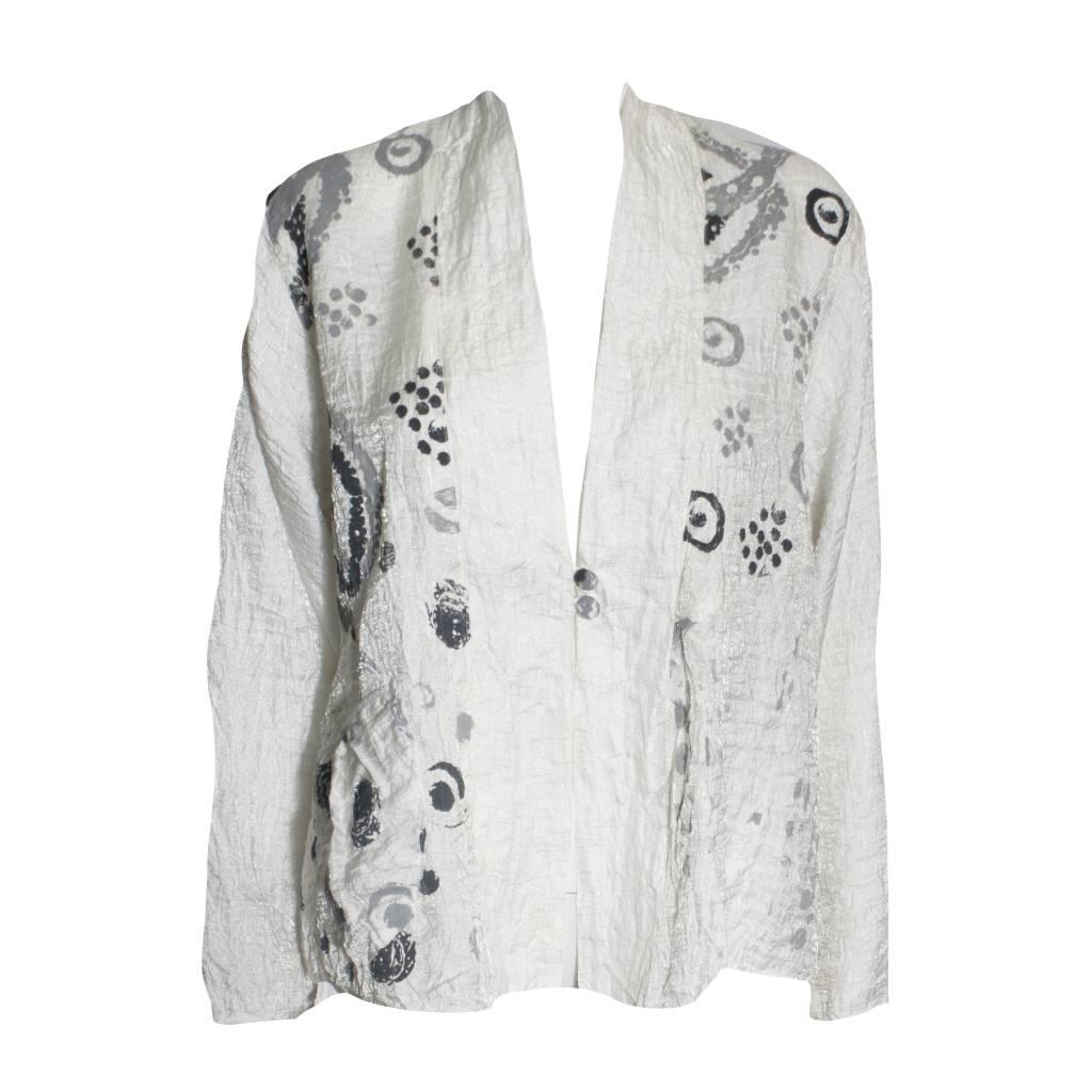 Harubella Harubella Shibori Graphic Jacket- Iridesent White