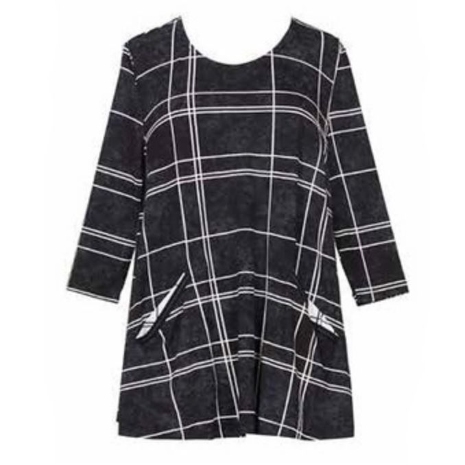 Alembika Alembika Grid Print Top - Black/white