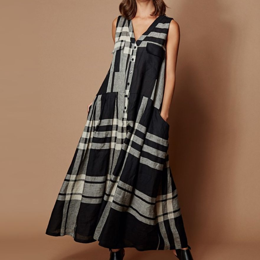 Alembika Alembika Oversized Plaid Pocket Dress - Black