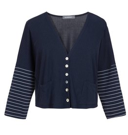 Alembika Alembika Stripe Sleeve Cropped Jacket - Navy