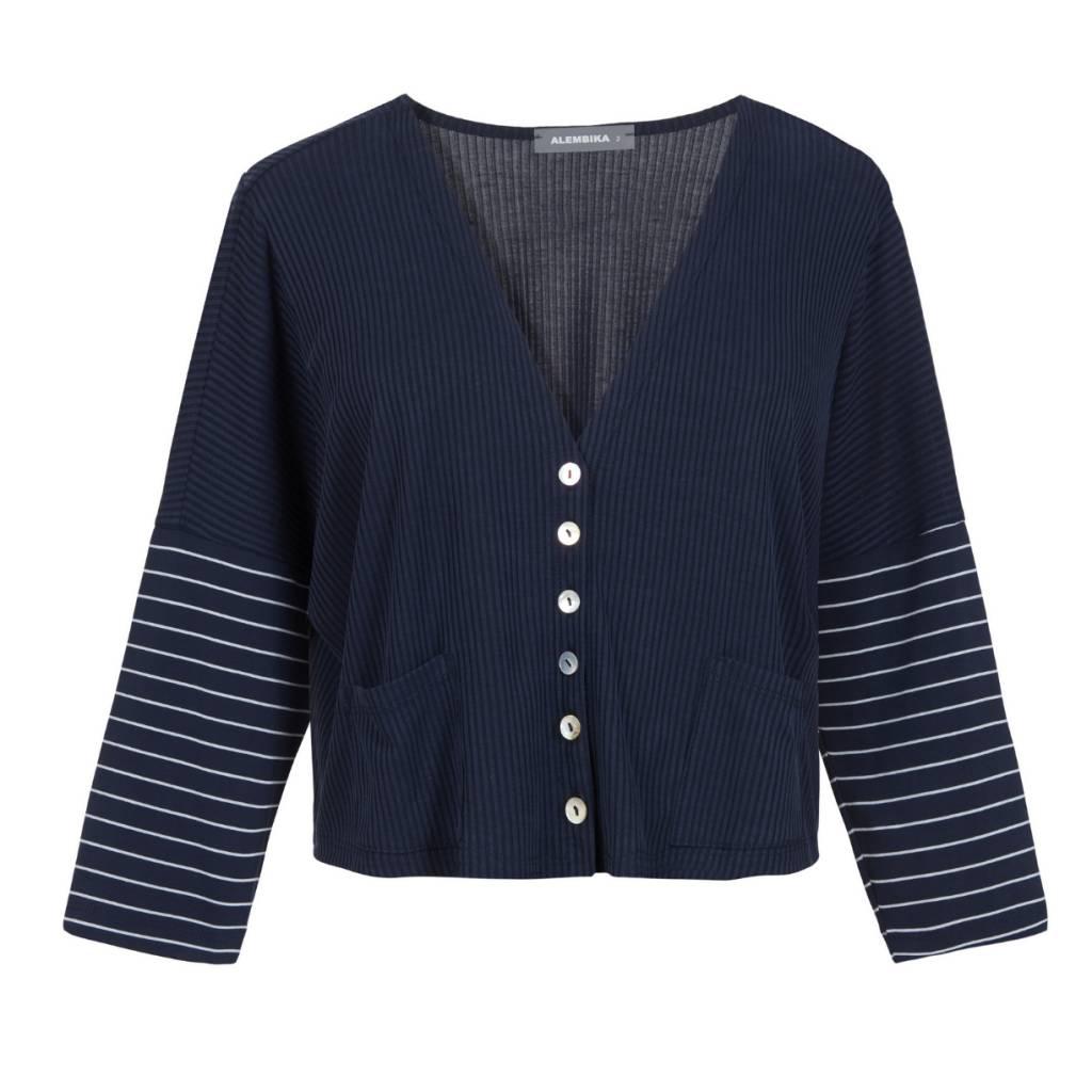 Alembika Alembika Stripe Sleeve Cropped Jacket - Navy