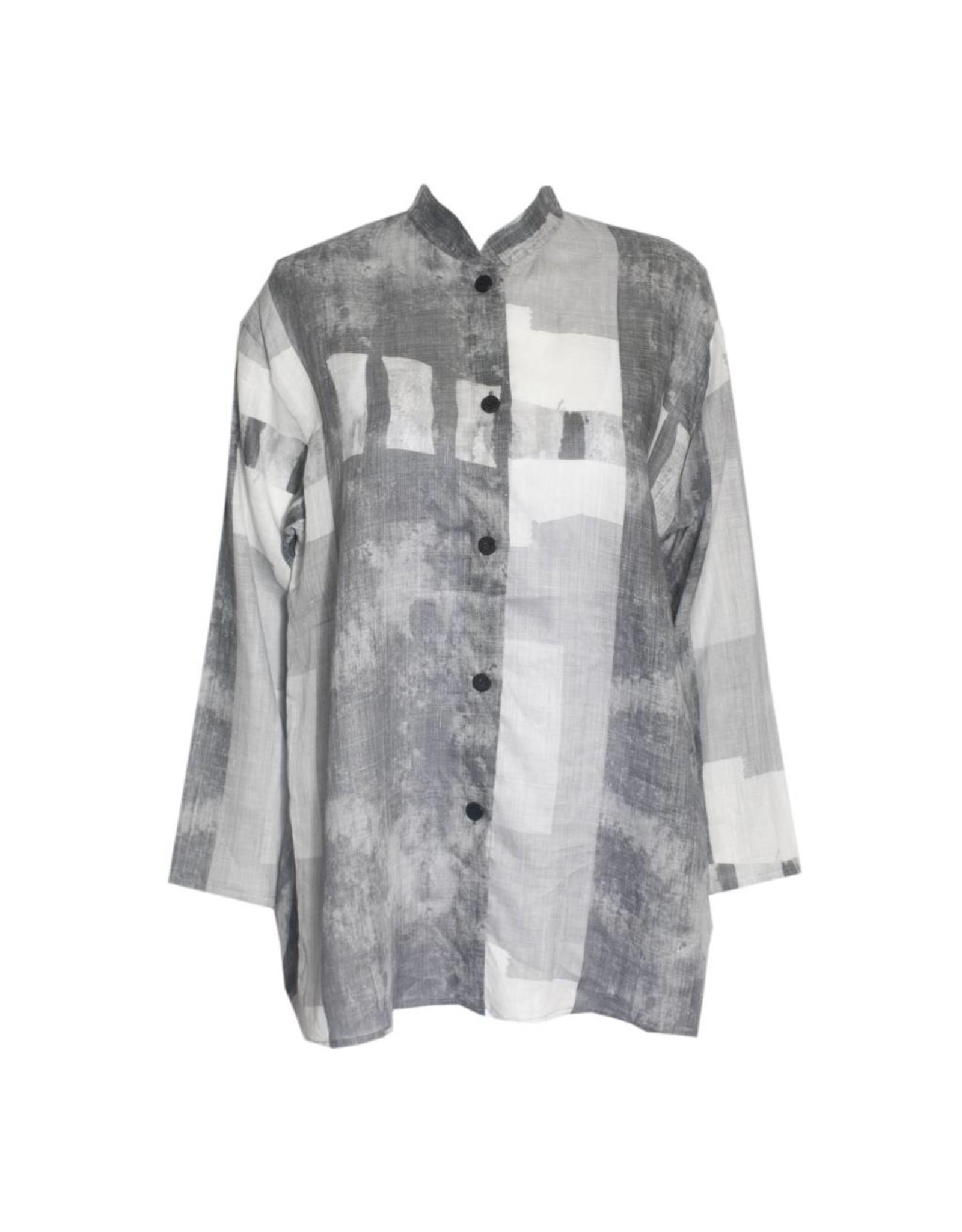 Xiaoyan Xiaoyan Linen Collared Shirt - Light Concrete