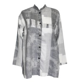 Xiaoyan Xiaoyan Linen Collared Shirt - Light Concrete