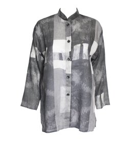 Xiaoyan Xiaoyan Linen Collared Shirt - Dark Concrete